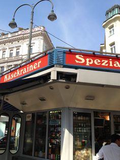 """Würstelstand Hoher Markt, 1010 Wien For """"Pus Stick"""" cheese sausage Cheese Sausage, Broadway Shows, Lunch, Blue, Eat Lunch, Shopping, Lunches"""