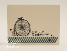 Masculine Celebrate Stampin' Up! Card by Andrea Walford. What looks like washi tape is actually cut from Tea for Two DSP
