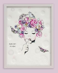 Fine art print One Sonny Day. Australian kids and children's art. Soft pink flower crown, lilac floral headdress, delicate antique lace embossing, pink purple butterflies, bubbles, bubble art, blowing bubbles. Perfect for wall art, little girls bedroom deco, children kids gifts, christening, baby shower, christmas present. Water colour, painting, quote