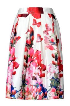 Butterfly Floral Print Midi Skirt in White