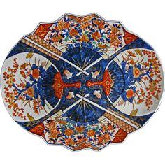 Large Japanese Imari Oval Platter Four Fan Decor Japanese Bowls, All Japanese, Turning Japanese, Japanese Dishes, Japanese Porcelain, Japanese Pottery, Oriental Decor, Vintage Vases, Kintsugi