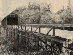 Covered Bridge over Chocolocco Creek built in 1903, burned in 1963---near Lincoln, Alabama in Talladega County