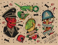 Dope old school Capt. America tattoo sheet!