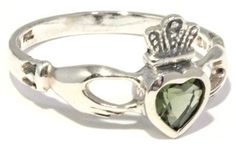 Faceted Moldavite Claddagh Ring Irish Heart Sizes 4-12 Sterling Silver | Moldavite Plus