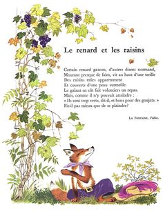 La Fontaine - Le Renard et les Raisins - Littérature au primaire Study French, Learn French, French Poems, French Practice, Les Fables, French Language Lessons, French Expressions, Kids Poems, Reading Practice