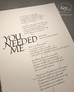 'You Needed Me', Anne Murray, song and lyrics by Randy Goodrum, unconditional and undeserved love, Italic Hand. I Need You, Give It To Me, Chris Jordan, Cover Pics, Quotations, Lyrics, Pure Products, Lettering, Songs