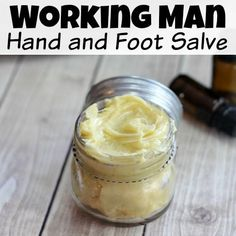 Working Man Hand and Foot Salve If you or someone in your life often suffers from dry, tired hands and feet, then you have to whip up this hand and foot salve! It makes a great gift, too! Neutrogena, Salve Recipes, Hand Scrub, Diy Lotion, Lotion Bars, Working Man, Hand Care, Foot Cream, Homemade Beauty Products