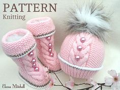.............................. PATTERN ............................   .................... INSTANT DOWNLOAD ................    This is a Knitting PATTERN Baby Set ( PDF file ) Price is ONLY for the PATTERN and NOT for the finished item ! --------------------------------------------------------------------------------------   The Baby Booties and Hats are knitted on two needles.   Pattern is made for Sizes :   BOOTIES : 0 - 3 months ; 3 - 6 months ; 6 - 9 months ; 9 - 12 months ;   HAT : 0…