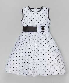 Look at this White & Black Polka Dot A-Line Dress - Infant, Toddler & Girls on - Kinder Kleidung Toddler Girl Dresses, Little Girl Dresses, Toddler Outfits, Kids Outfits, Girls Dresses, Toddler Girls, Infant Toddler, Infant Girls, 50s Dresses