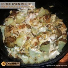 When I am camping in the Fall, I crave hearty, comfort food. Nothing satisfies that craving like this dutch oven pork chops and potatoes recipe.