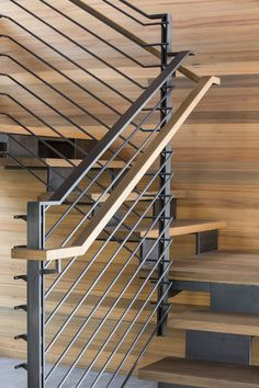"Repost of a stair we built with the talented ""Carefully detailed stair of delicate steel bars, folded steel structure, and reclaimed sinker cypress wood. Steel Stairs Design, Staircase Design Modern, Staircase Railing Design, Staircase Handrail, Steel Handrail, Modern Stairs, Wooden Staircases, Stairways, Stair Paneling"