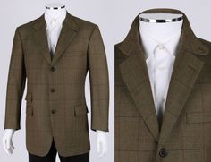 BROOKS BROTHERS 1818 MADISON LOVAT GREEN CHECK WOOL TWEED SPORT COAT 43 R #BrooksBrothers #ThreeButton