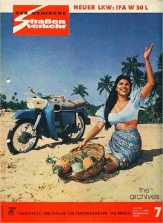 Miss Ceylon 1965 – Shirlene de Silva with a MZ ES 150 Motorcycle shot in Ceylon, in the Der Deutsche Straßenverkehr of July 1965. MZ was a manufacturer in Zschopau, Saxony in former Eastern Germany, famous for its motorcycle industry such as DKW. Began in 1962 ES125 / ES150 series, had the highest production rates of any German model & was the first motorcycle to feature an asymmetric low beam headlight pattern in the classic streamlined shell that became the hallmark box light of the brand.