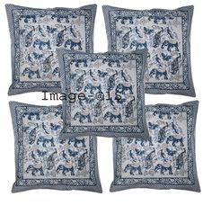 Rich and colorful hand block printed cotton cushion cover from Sanganer, India, the world capital of the art of block printing. Block printing is a long process which requires precision that produces dazzling patterns exploding with colors. Couch Throws, Sofa Throw, Sofa Pillows, Cushions, Sofa Pillow Covers, Blue Block, Printed Cotton, Bohemian, Animal