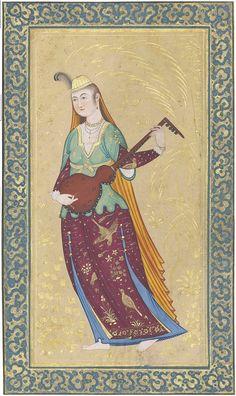 بانوی نوازنده با یک عود, به شیوه صفوی، سده ۱۹ ترسایی؟، نگاره ۱۰.۵ در ۱۹.۵، برگ ۱۳.۸ در ۲۳.۳ سانتیمتر FEMALE MUSICIAN, WITH A LUTE IRAN, 19TH CENTURY Opaque pigments heightened with gold on paper, the Safavid-style, Female Musician wearing gold and polychrome robes, plays a lute, beyond her a background decorated in gold with a large tree, several flowering plants and stylised cloudbands in gold, Painting 19.8 x 10.5cm folio 23.3 x 13.8cm