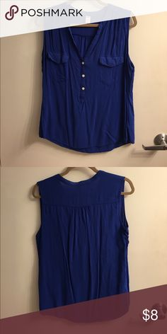 Old Navy button down blue tank This is a cute tank for summer!  Lightweight, button down, royal blue and sleeveless. In like new condition. Old Navy Tops Tank Tops