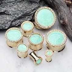 A Pair of Golden Mint Opal Elegance Multi-Gem Ear Gauge Plug