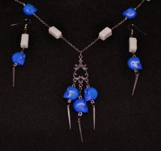 Dangling Blue Howlite Skull & Spikes Charm Chain Necklace and Earrings Set - Antiqued Silver Finish