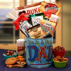 You're One in a Million Dad - Premium Snacks & Nuts Gift Pail Fathers Day Gift Basket, Fathers Day Gifts, Gifts For Dad, Diy Gifts, Unique Gifts, Creative Gifts, Homemade Gifts, Rocket Kits, Pizza And Beer