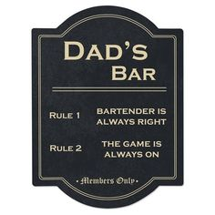 Cathy's Concepts 'Dad's Bar' Wall Sign (¥3,595) ❤ liked on Polyvore featuring home, home decor, wall art, black, interior wall decor, black wall art, black home decor, wall signs and mounted wall art