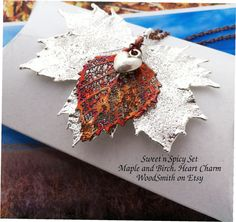 Sweet'n'Spicy Real Leaf Pendant Set Silver Maple Copper birch, heart charm...by WoodSmith