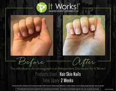 My Personal results of our It Works HSN!!! Just two weeks difference and my nails look amazing! So much healthier, stronger, and even longer!! Our Hair Skin and Nails enhance your own natural collagen and keratin production, supports healthy cell growth, and boosts your body's free radical fighting defenses. It's optimal nourishment to look your beautiful best from the inside out! Want to try it out?! Just let me know ☺️
