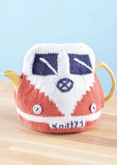 Knitting pattern for Camper Van Teapot Cozy. (pattern for knitted cottage cozy…