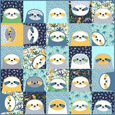 Clothworks Jungle Fever Silly Sloths Quilt Kit 50 inches | | Sloth Photos, Baby Sloth, Animal Quilts, Panel Quilts, Quilt Kits, Fabric Crafts, Sewing Crafts, Quilting Projects, Baby Quilts