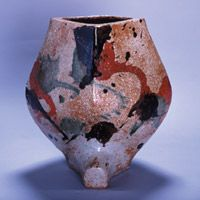 "Kanjiro Kawai - ""moulded stoneware vase"", in three different color glaze"