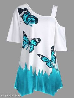 c3fd550e Summer Polyester Women Open Shoulder Animal Butterfly Printed Printed Short  Sleeve T-Shirts - berrylook