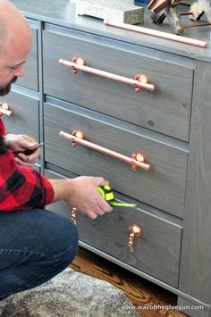 Industrial Copper Drawer Pulls
