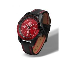 Reloj Vostok: Ref VO2204097  Reloj Automático Vostok modelo Rocket N1 Sumergible, caja de acero con tratamiento PVD Negro, esfera de color rojo, y correa de cuero negro con pespuntes en rojo.  http://www.tutunca.es/reloj-vostok-rocket-n1-automatico-negro