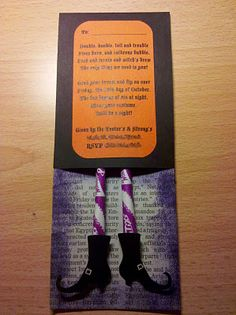 DIY Halloween party invitations. Pixy Stix wicked witch's legs (...we're not in Kansas anymore!).