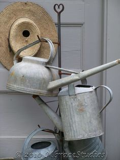 Vintage Antique Watering Cans  5x7 fine art by mbracestudios