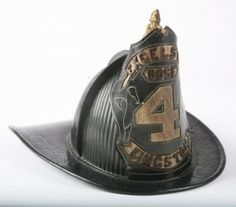 """Vintage fireman's hat of formed leather with badge that reads """"Excelsior Hose 4 Kingston"""" and bronze figure of a fire. Fire Dept, Fire Department, Fireman Hat, Fire Helmet, Firefighter Pictures, Fire Equipment, Fire Prevention, Fire Apparatus, Fire Engine"""