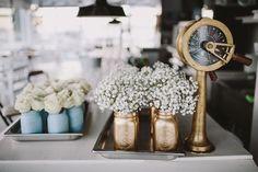 Table Decor, Ball Mason Jar, Nautical Wedding, Wedding Flowers, // Pic by @raquelbenito