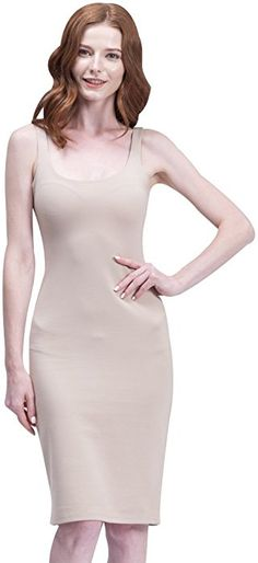 BELLA PHILOSOPHY Women s Cotton Tank Basic Dress Highly Stretchy Slim Back  Split£¨S.Beige£ at Amazon Women s Clothing store  643ee6685