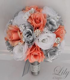 Wedding Bouquet Bridal Bouquet Bridesmaid Bouquet Silk Flower Bouquet Wedding Flowers Coral Silver 17 Piece Package Lily of Angeles Silk Flower Bouquets, Bride Bouquets, Flower Bouquet Wedding, Silk Flowers, Silk Bridal Bouquet, Bridesmaid Bouquets, Beach Wedding Flowers, Wedding Coral, Coral Wedding Decorations