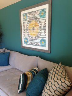"""luv this color==Accent wall and colors for the living room - accent wall is Sherwin Williams """"Lagoon. Formal Living Rooms, Home Living Room, Room Colors, Paint Colors, Accent Wall Colors, Accent Walls In Living Room, Decorative Wall Panels, Living Furniture, House Painting"""