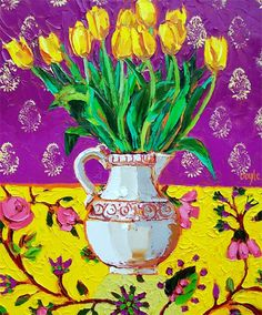 Painting Still Life, Still Life Art, Yellow Tulips, Irish Art, Traditional Paintings, Henri Matisse, Abstract Flowers, Color Combos, Creative Art