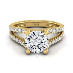 14k Yellow Gold 1 1/2ct TDW Round Diamond Pave Engagement Ring (H-I, VS1-VS2) (Size - 8), Women's