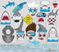 Shark Diving Surfing Summer Photo Booth Props for Shark Party Shark Party Decorations, Party Props, Birthday Party Decorations, Party Ideas, Birthday Parties, Birthday Stuff, 5th Birthday, Birthday Ideas, Shark Diving