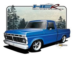 1973 Ford F100 - Vehicle Illustration by SIN Customs artist Ryan Curtis
