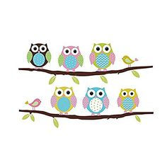 Amaonm Reg Cute Cartoon Six Colorful Owls Birds On The Tree Branches Wall Stickers Murals Removable Diy Art Decor Decals For Kids Rooms S Bedroom