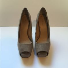 Suede peep toe platform heels Mushroom color super fab heels great for the office or a night out Zara Shoes Heels