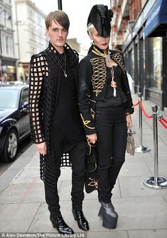 5850bfbf30dd Daphne Guinness  outfit has a naval flair as she attends an auction of her  fashion collection
