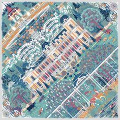 "Silk scarf ""Palace of dreams"" (Hermesvilla, Vienna) designed by Jelena Fiala. www.jelenafiala.com"