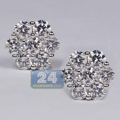 Womens 1.15 ct Diamond Cluster Stud Earrings 14K Yellow Gold Diamond Studs, Diamond Shapes, Diamond Earrings, Stud Earrings, Green Peridot, Purple Amethyst, Pink Sapphire, Womens Earrings, Gia Certified Diamonds