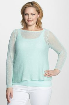 Eileen Fisher Ballet Neckline Sheer Boxy Top (Plus Size) available at #Nordstrom~maybe one day