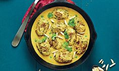 chandra malai kofta (chickpea and courgette dumplings in curry sauce)